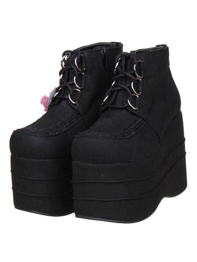 Black Micro Suede Lolita High Platform Shoes Lace Up