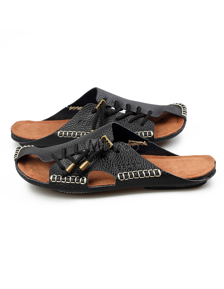 a0a7f6722b58c5 ... Black Slip-On Strapped Cowhide Mens Sandals Slip-on Slippers -No.4 ...