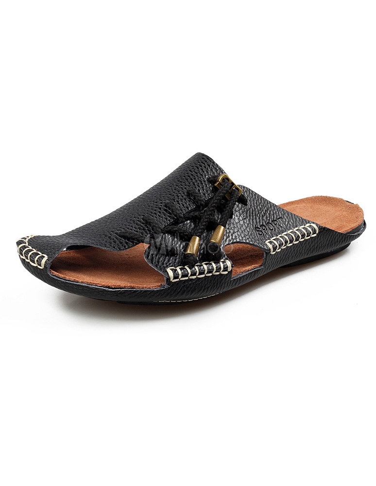 fc966422794951 Black Slip-On Strapped Cowhide Mens Sandals Slip-on Slippers -No.1 ...