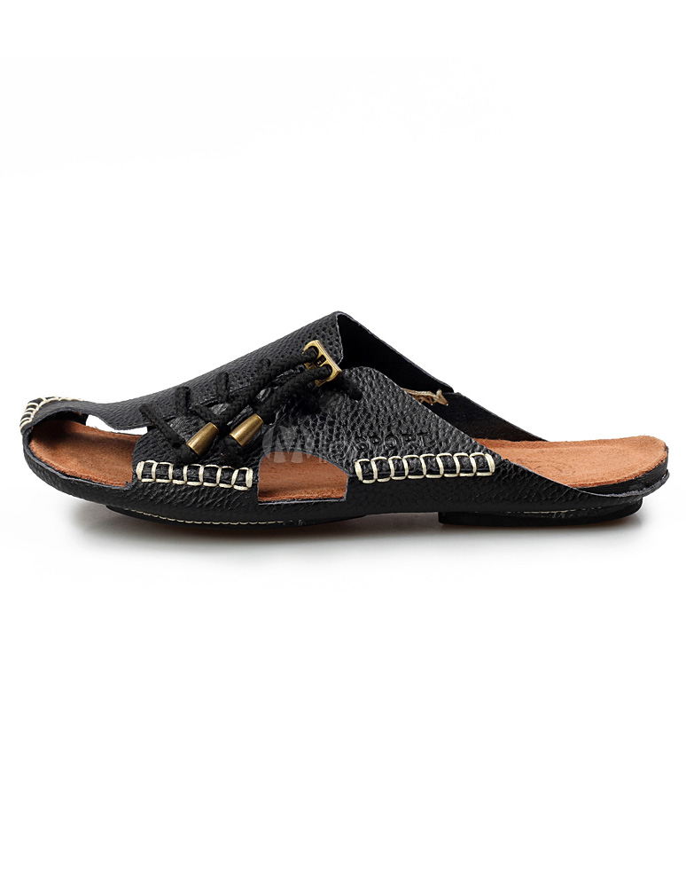 f27ab99eda5e07 ... Black Slip-On Strapped Cowhide Mens Sandals Slip-on Slippers -No.2 ...