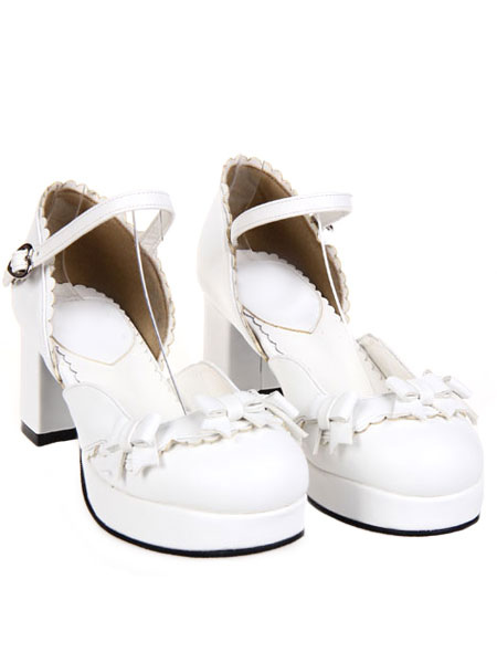 Buy Sweet Chunky Heels Lolita Shoes Platform Strap Buckles Bows for $64.99 in Milanoo store