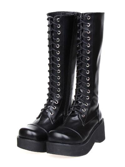 Gothic Black Lolita Boots Platform Shoelace Zip Designed