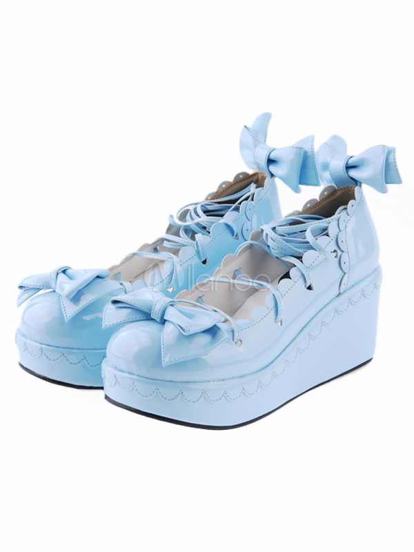 Milanoo / Sweet Lolita High Platform Shoes Straps Bows Trim Round Toe