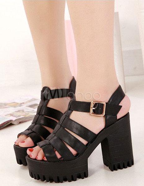 b123f3b42ab0 ... Academic Black PU Leather Chunky Heel Womens Gladiator Sandals -No.2 ...