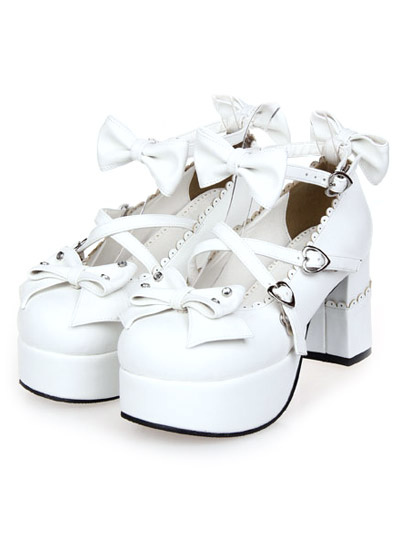 Buy White Chunky Heels Lolita Shoes Square Heels Ankle Strap Bows Heart Shape Buckles for $54.89 in Milanoo store