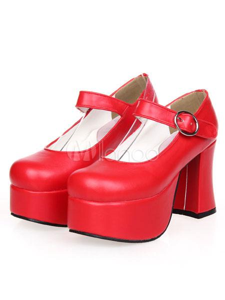 Dandy Round Toe PU Leather Chunky Heel Street Wear Lolita Shoes