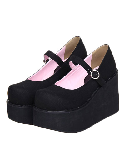 Lovely Street Wear Black Suede Leather Platform Lolita Shoes