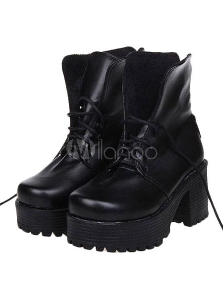 Dandy Street Wear Black PU Leather Lace Up Platform Lolita Shoes