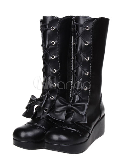 Sweet Street Wear Black PU Leather Lace Up Bow Platform Lolita Shoes