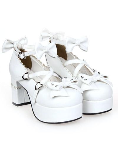 Zapatos de lolita blancos 57bbelPfM