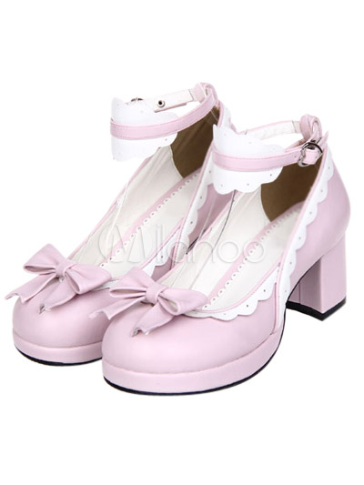 Sweet Chunky Heels Shoes White Trim Ankle Strap Bows Buckle