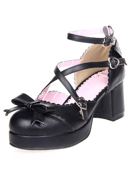 Zapatos negros de lolita con tiras cruzadas y lazo UbgrDm2o