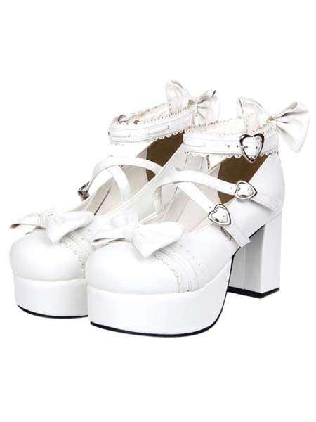 Buy White Chunky Square Heels Lolita Shoes Platform Ankle Strap Heart Shape Buckles Bows for $64.79 in Milanoo store