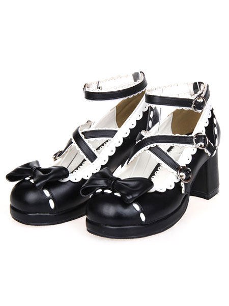 Sweet Lolita Chunky Heels Shoes Ankle Strap Bow Deco