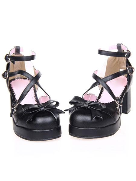 Zapatos negros de lolita con tiras cruzadas y lazo oPKMK