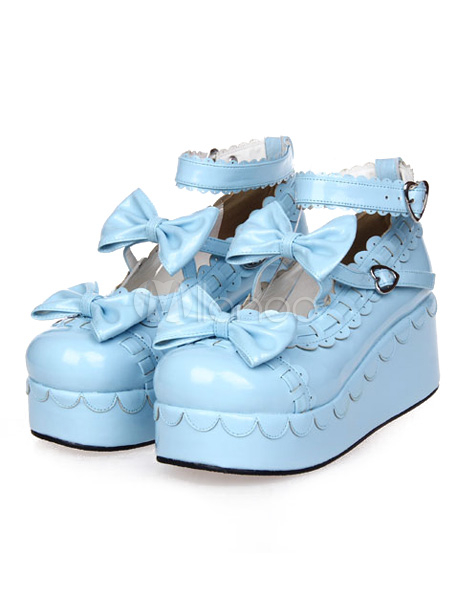 Sweet Lolita High Platform Shoes Bows Ankle Straps Heart Shape Buckles