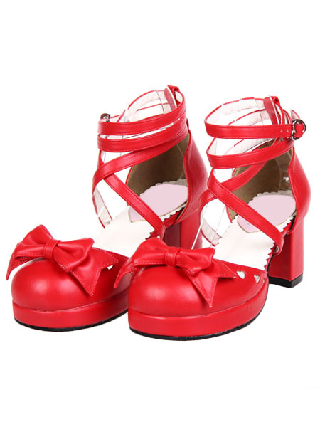 Buy Sweet Chunky Heels Lolita Shoes Ankle Straps Heart Shape Buckles Bows for $60.99 in Milanoo store