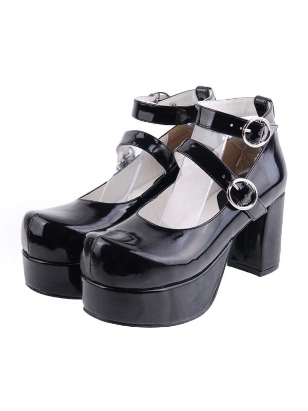 Glossy Black Lolita Heels Shoes Platform Shoes Ankle Straps Buckles