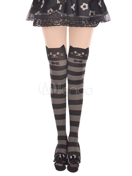 Black Grey Striped Lolita Thigh High Socks Velvet Cute Cats Bow Print