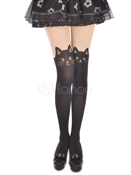 Sweet Black Animal Cat Print Velvet Lolita Socks