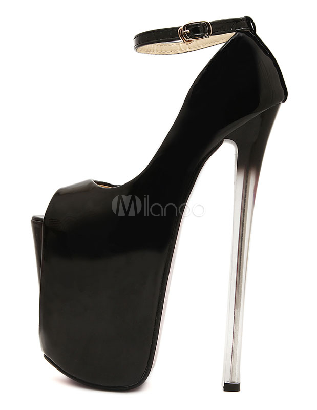 Peep Toe Patent Strappy Patent PU Upper Womens Sexy High Heels ...