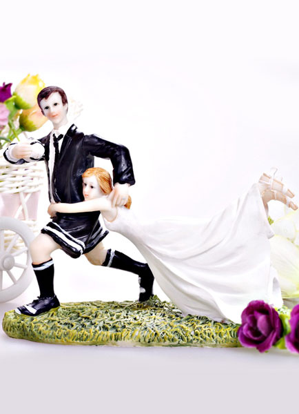 Athletic Classic Traditional Figurine Wedding Cake Toppers for Funny