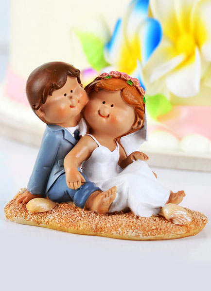 Buy Beach Figurine Classic Couple Wedding Cake Toppers for $10.79 in Milanoo store