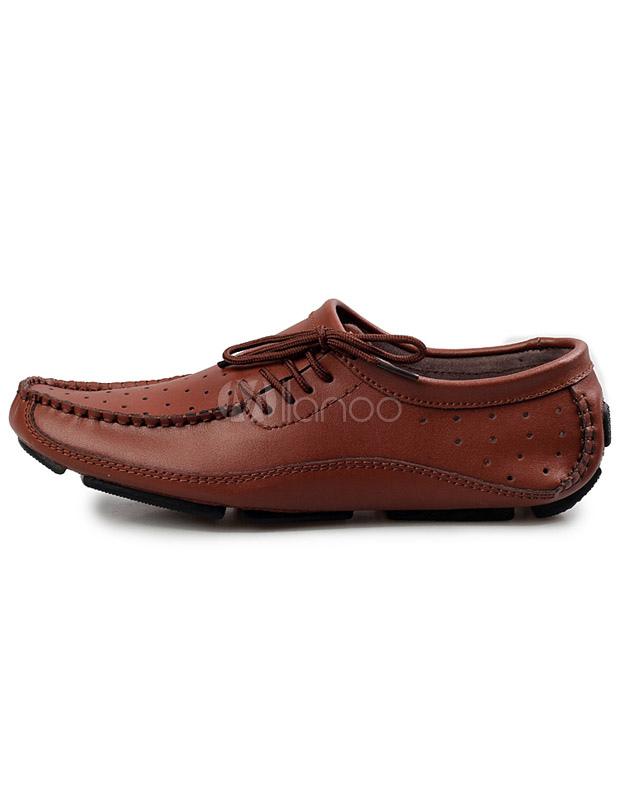 ... Loafers marrons clairs avec lacet à semelle caoutchouc-No.2 ...