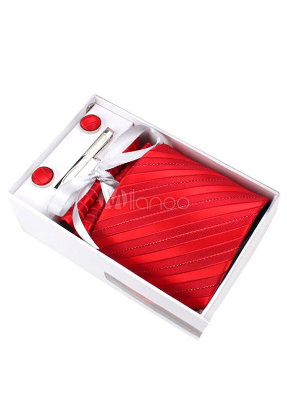 Modern Polyester Stripe Dress Tie ( 6/Pack ) For Men