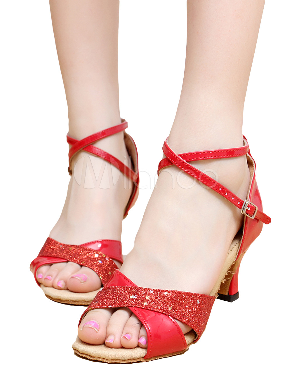 Buy Stylish Criss-Cross Peep Toe Patent PU Upper Latin Dance Shoes for $14.24 in Milanoo store