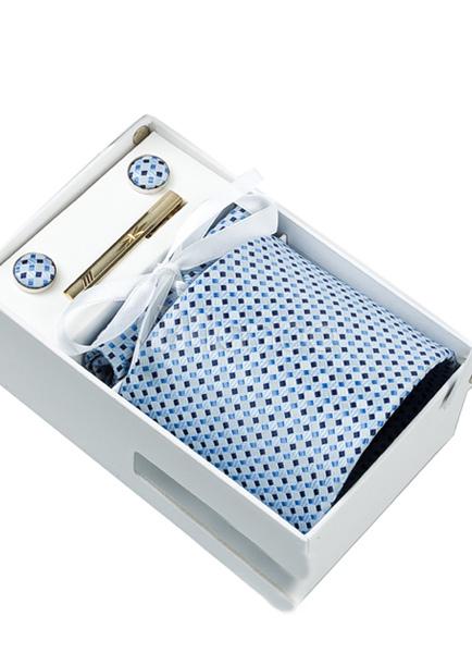 Men Dress Tie Dot Polyester 5 Piece Necktie Set