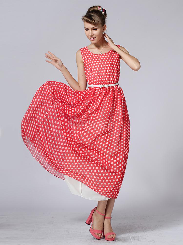 Vestido largo de chifón rojo con estampado de lunares - Milanoo.com