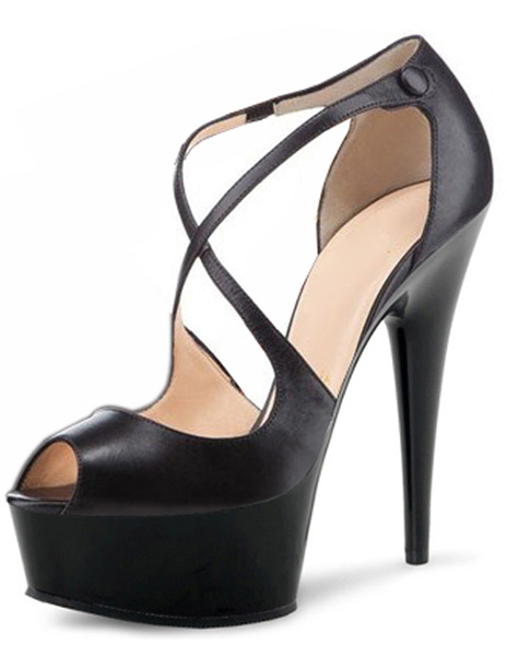 Buy Peep Toe PU Leather Criss-Cross Cut Out Womens Platform Sandals for $62.99 in Milanoo store