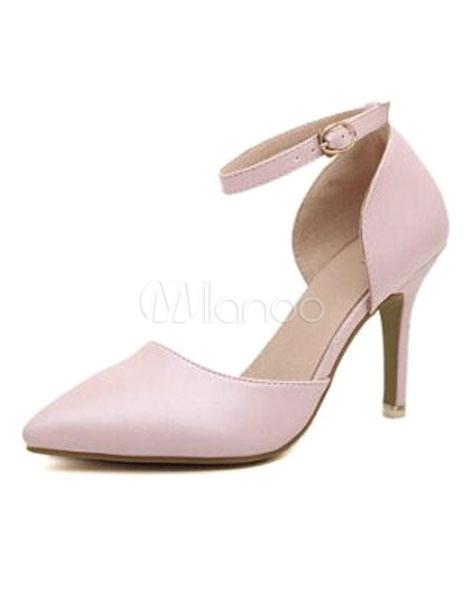 Pretty Pink Stiletto Heel PU Leather Womens Pointy Toe Heels No1