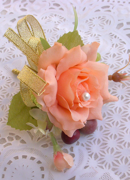 Beautiful Satin Boutonniere Flowers for Wedding Party Set of 4