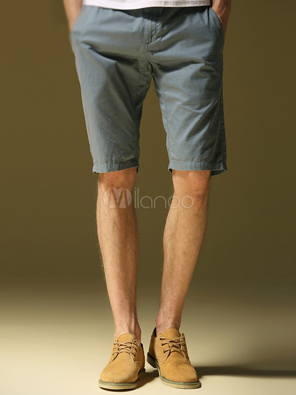 Daily Casual Light Blue Zipper Fly Cotton Mens Shorts
