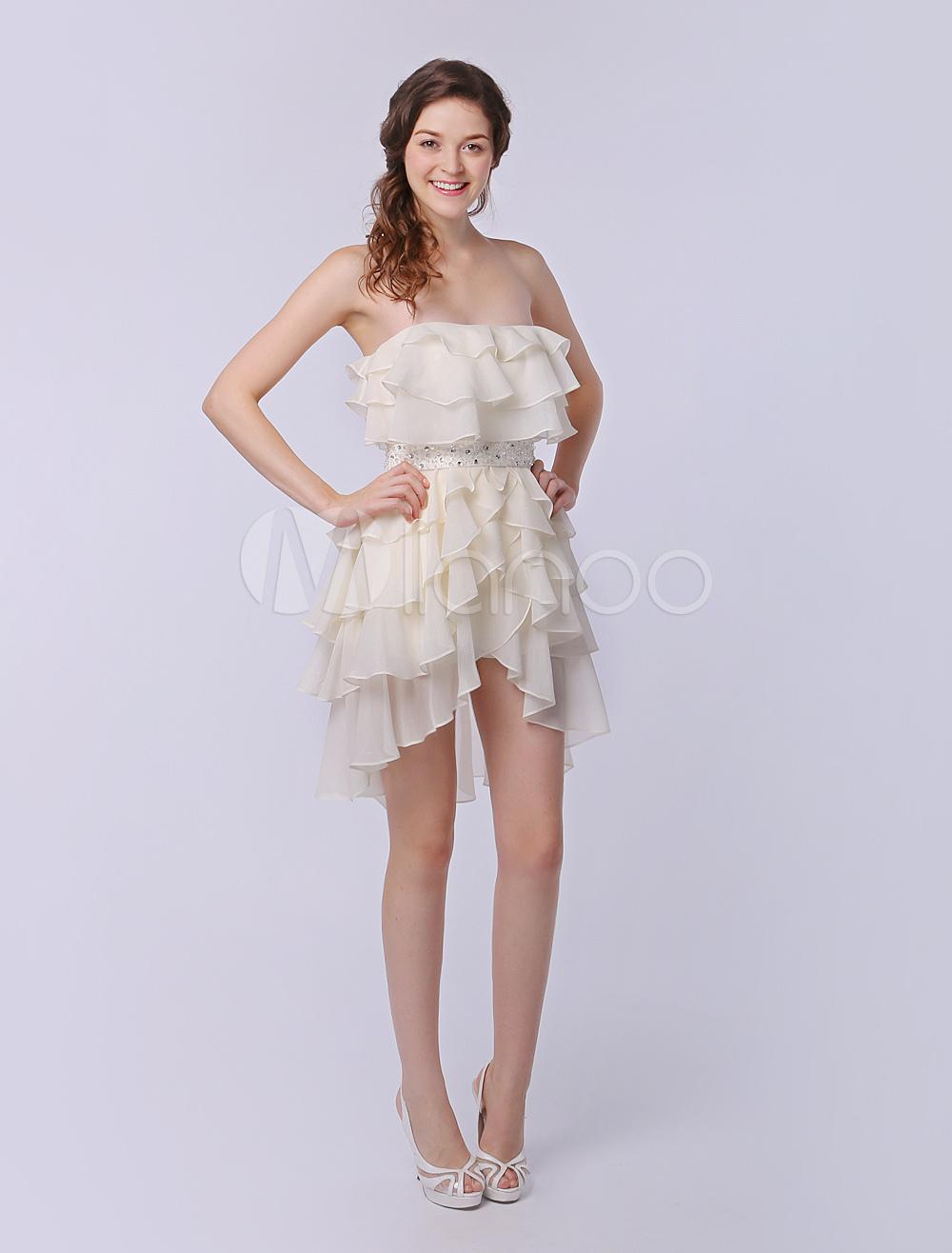 Tiered Strapless A-line High Low Design Bright Silk Chiffon Dress Milanoo