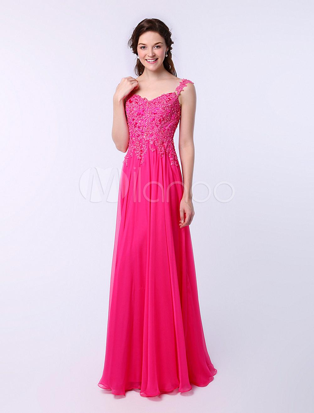 vestidos de gala de chifón Rosa caliente con escote en corazón sin ...
