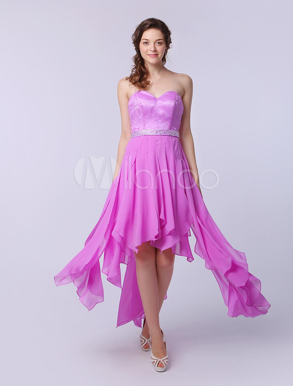 Vestido de fiesta de chifón de color lila con escote en corazón ...
