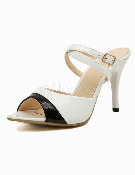 Stiletto Heel Toggle PU Leather Chic Dress Sandals For Ladies