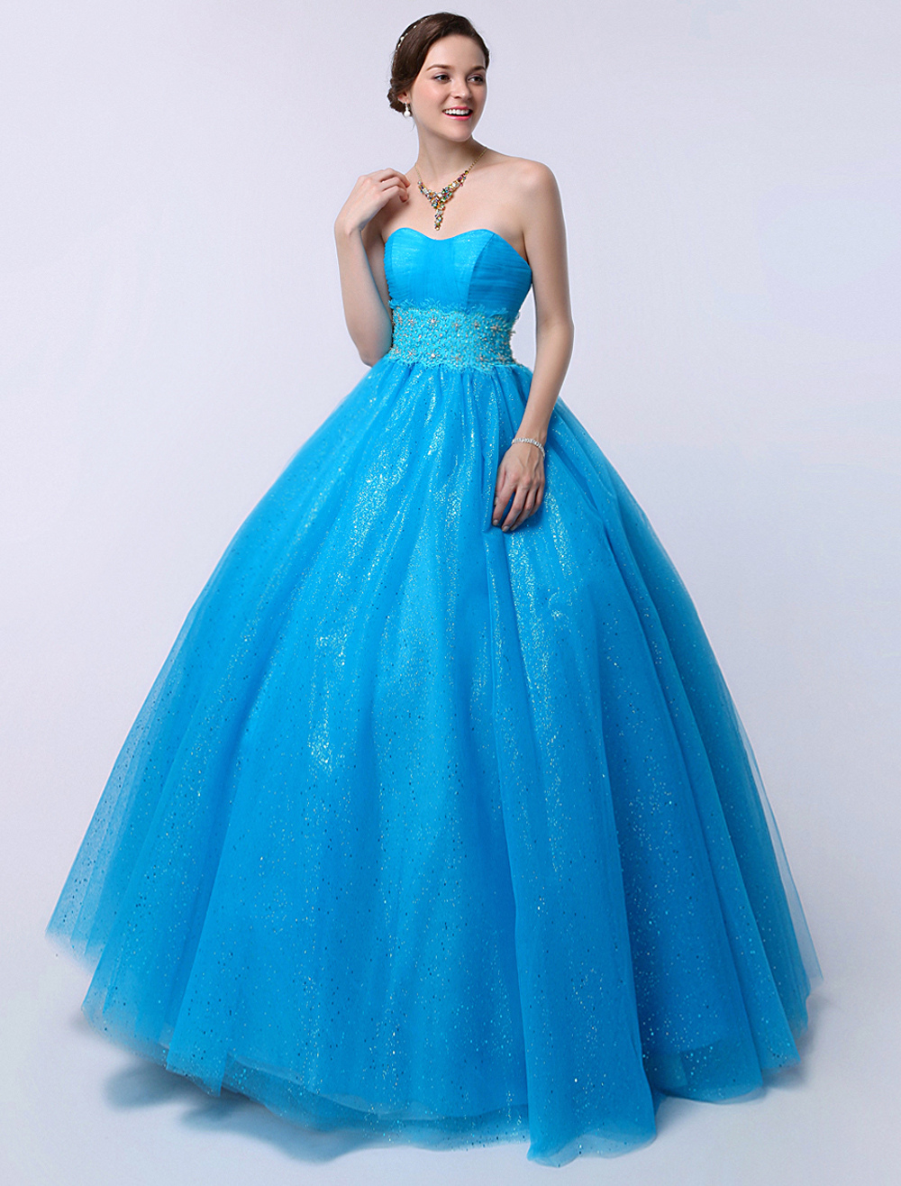 Blue Ball Gown Sweetheart Neck Floor-Length Beaded Quinceanera Dress