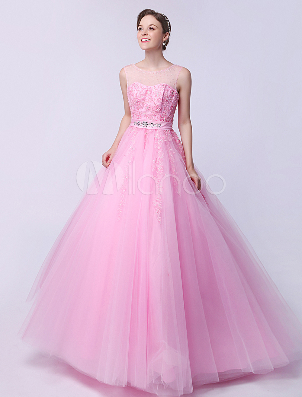 Pink Ball Gown Jewel Neck Floor-Length Quinceanera Dress with