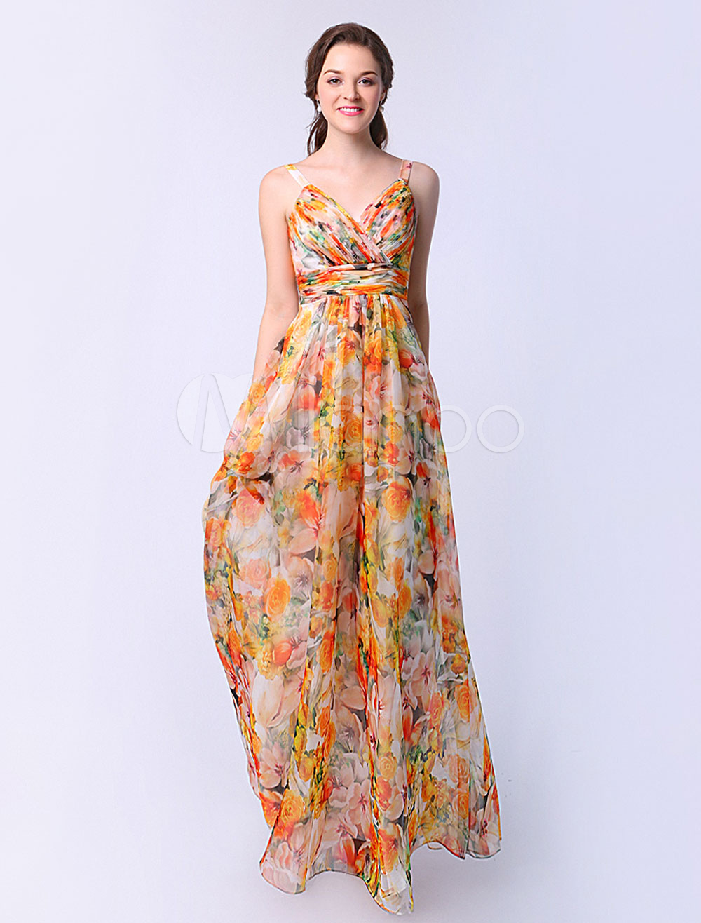 Milanoo / A-line Flower Print Chiffon Prom Dress with Sweetheart Neck Ruched