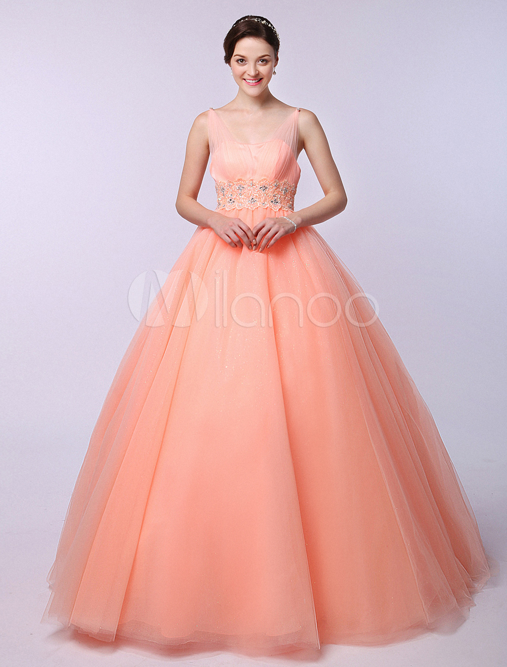 Orange Ball Gown V-Neck Floor-Length Beaded Mesh Quinceanera Dress ...