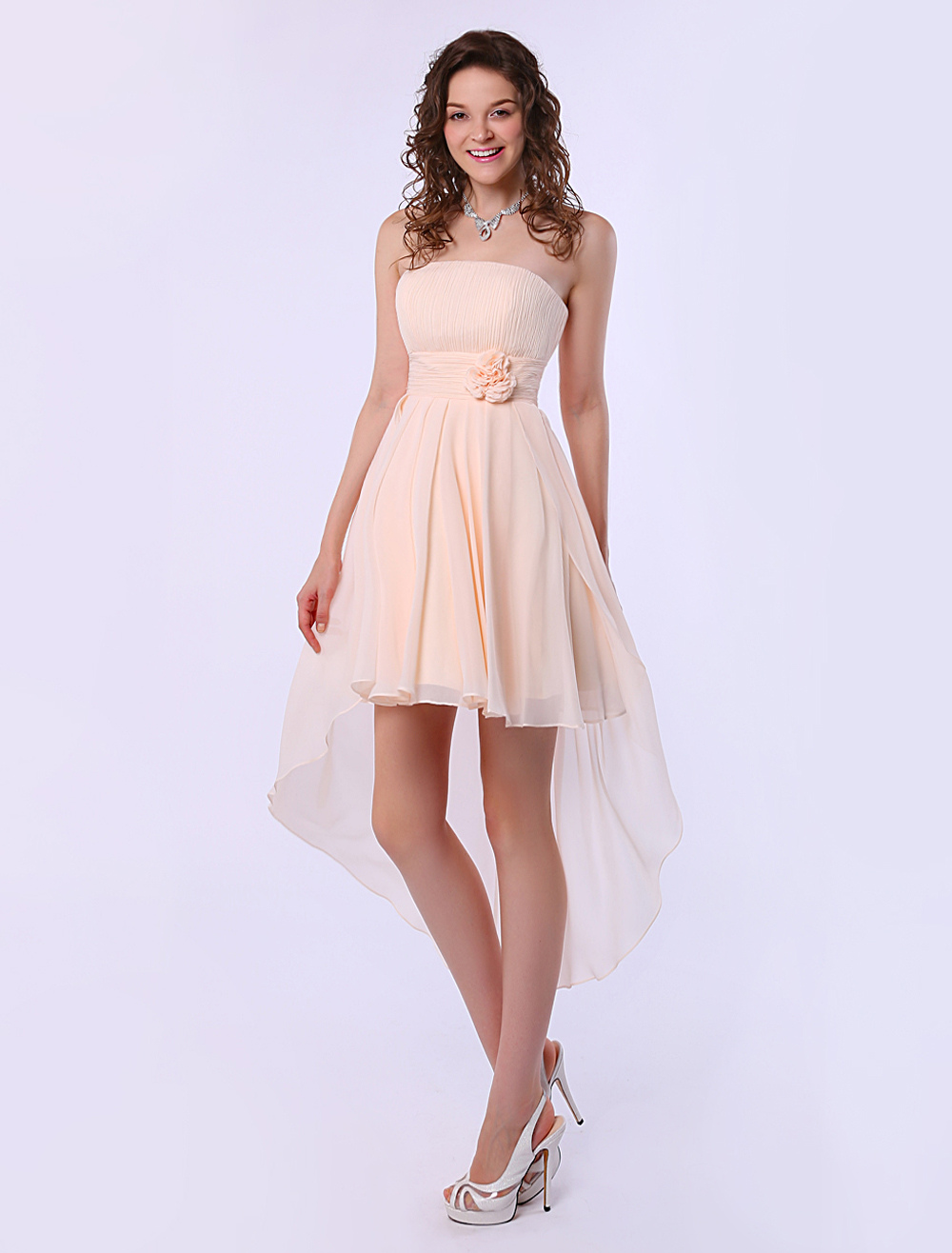 Gold Champagne A-line Strapless High-Low Design Chiffon Bridesmaid Dress