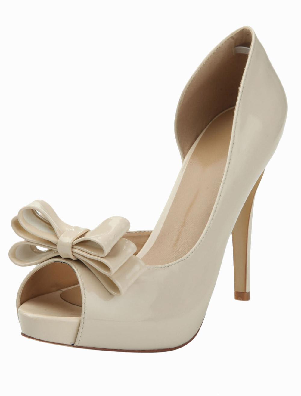Gorgeous Nude Stiletto Heel Bow Patent PU Upper Peep Toe High Heels