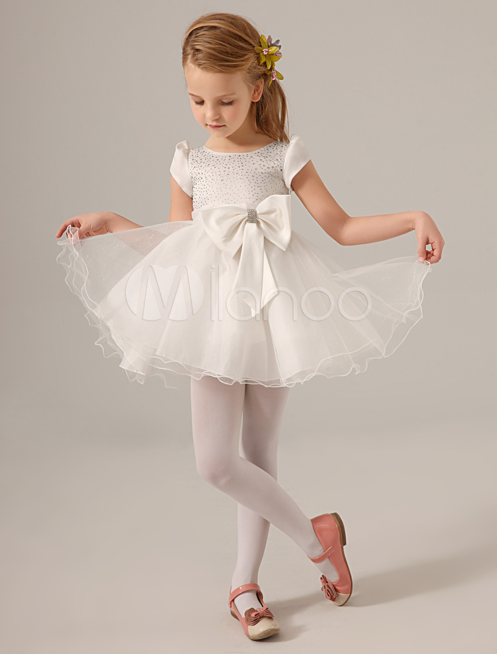 White Jewel Neck Bow Organza Lovely Flower Girl Dress