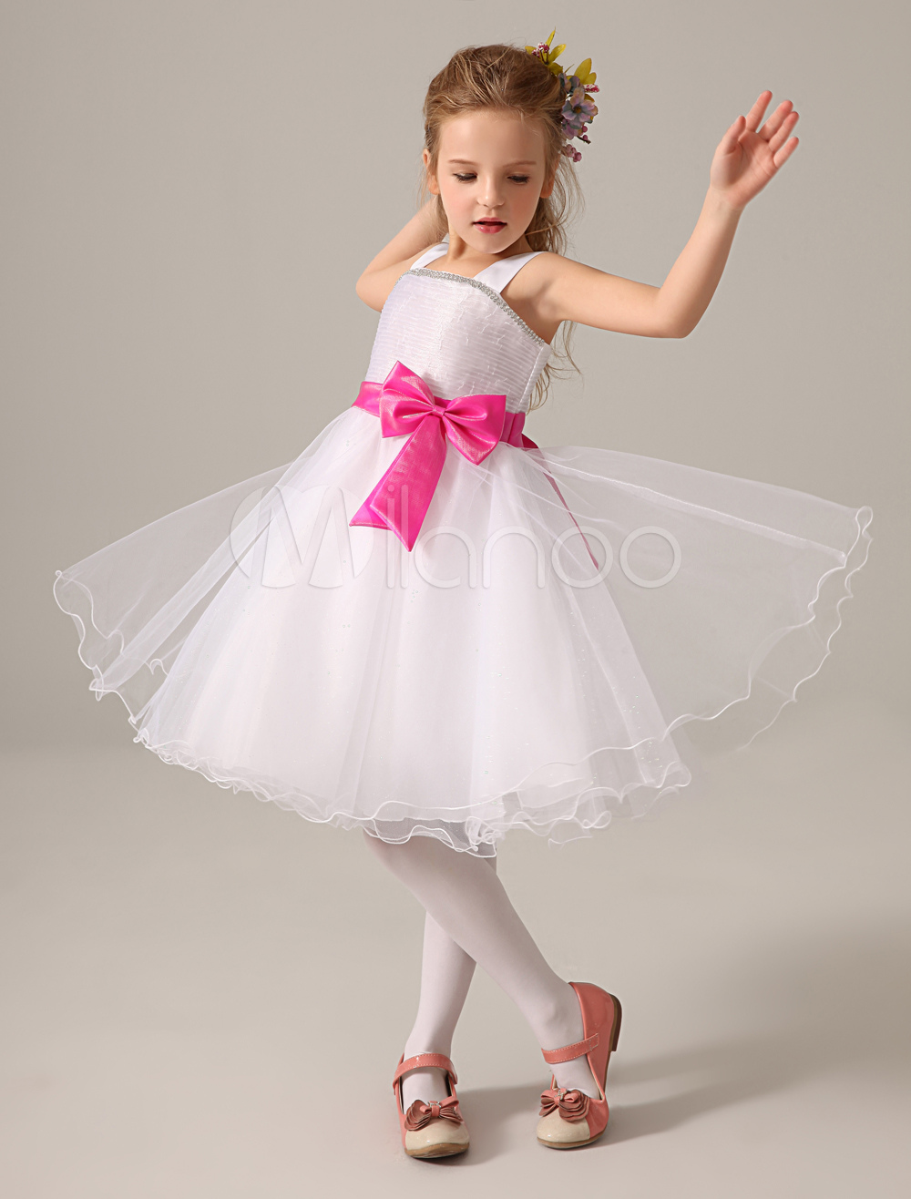 Buy White Bateau Neck Knee-Length Bow Tulle Wedding Flower Girl Dress for $58.89 in Milanoo store