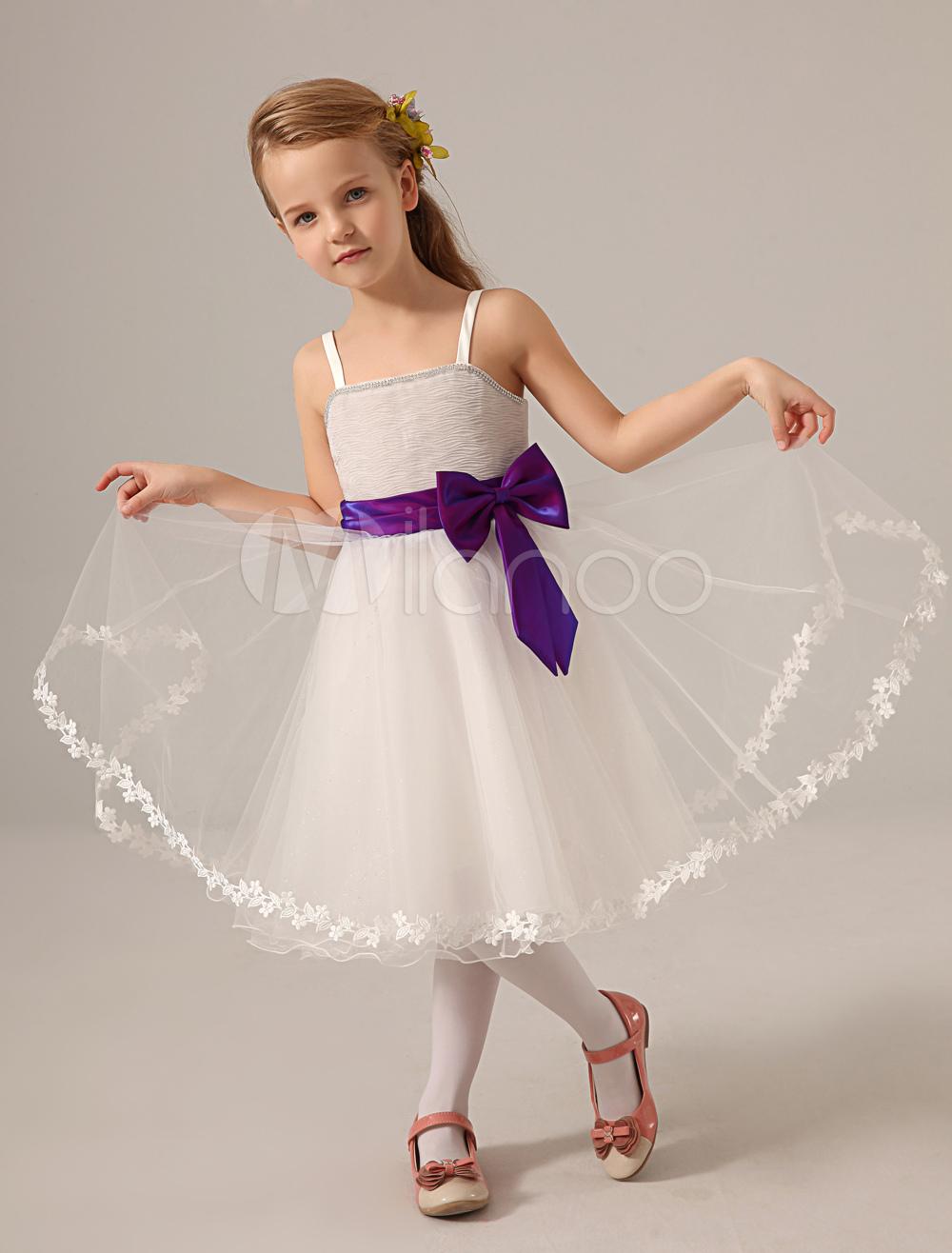 White Bateau Neck Flower Tulle Cute Flower Girl Dress
