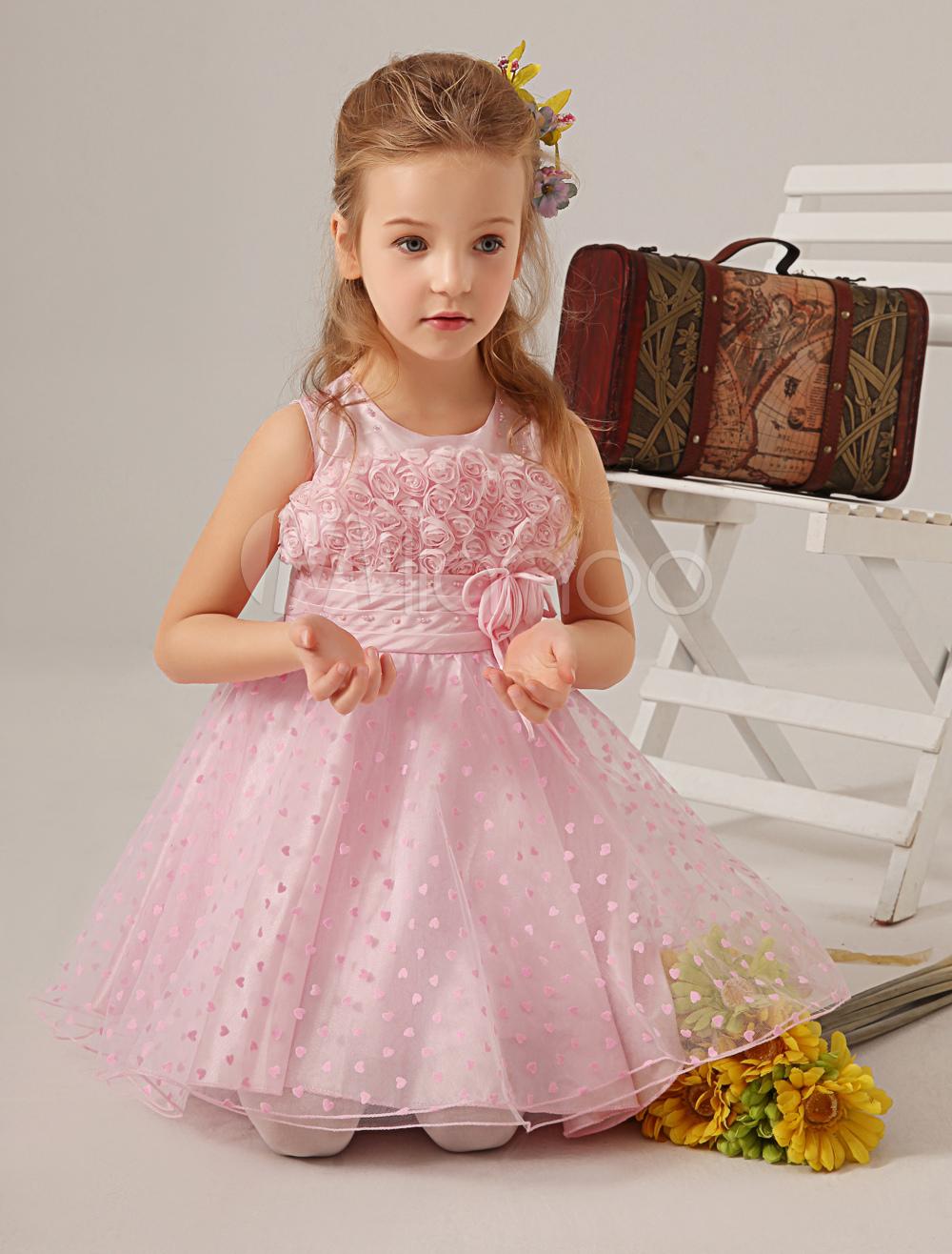 Sweet Pink Jewel Neck Flower Organza Princess Flower Girl Dress